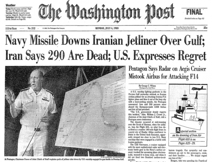 July 3, Anniversary of the USS Vincennes Terrorist Attack on Iranian Passenger Plane